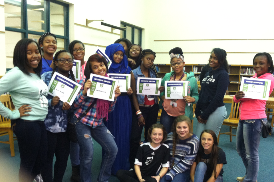 Proud graduates of the Healthy Girls program at Golda Meir School